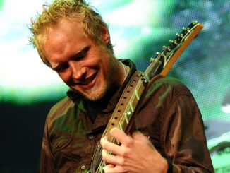 Guitarist Matt Roberts of the American rock band 3 Doors Down performs with the band at the Comcast Center in Mansfield, Mass., Tuesday, July 22. 2008. (AP Photo/Robert E. Klein)